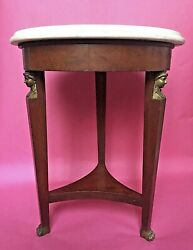 Antique/vtg 21 Empire/neoclassical Style Gueridon Table Round Marble Caryatid