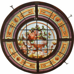 Antique Argentine Beaux Arts Painted Stained Glass Iron Round Cupola Window