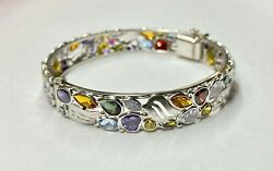 Womenandrsquos 14k White Gold Bangle With Multiple Natural Colored Stones