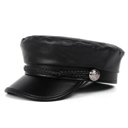 Fashion Women Leather Military Army Hats Autumn Winter Beret Flat Ladies Caps