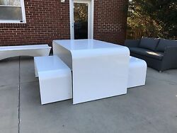 Modern Space Age Picnic Table Andbench Outdoor Kartell Umbo Knoll Industrial