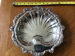 Antique Old English By Poole 5926 Silver Plate Footed Tray Shell Epca Shell Used