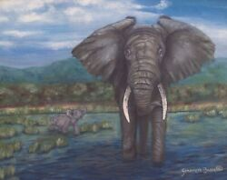 Gentle giant by Genevieve Bascetta Wood  Giclee printed on Canvas 16