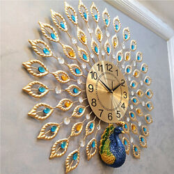 Luxury Peacock Large Wall Clock 25 Metal Living Room Wall Watch Home Decor Gift