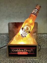 Vintage Michelob Golden Draft Lighted Bar Display With Bottle And Ice Cubes - Nice