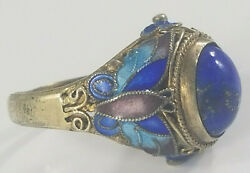 Antique Silver Gilt Chinese Lapis Enamel Butterfly Filigree Ring