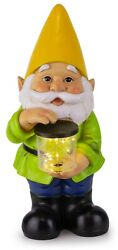 Vp Home Yellow Hat Gnome Solar Powered Led Outdoor Decor Garden Light,6w X 13h
