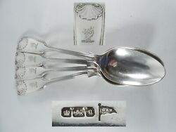 Antique Art Deco 1924 Set 4 Sterling Silver Dessert Spoons Fiddle Thread And Shell