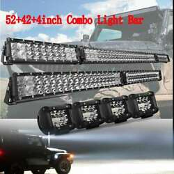 54 Led Light Bar+ 40.5and039and039+ 4x4andldquo Pods Combo For Hummer H1 H2 H3 Humvee Am 52/40/4
