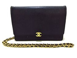 Auth CHANEL Black Leather Other Style Wallet