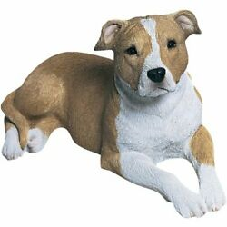 Sandicast Mid Size Fawn and White Pit Bull Terrier Sculpture Lying
