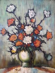 Original Oil Painting By Ann Julia Rant Bouquet Of Clove Flowers, 28×32 Inches