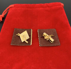 Vintage Lot Of 2 Beau Sterling Silver Charms Graduation Cap And Scroll Nos