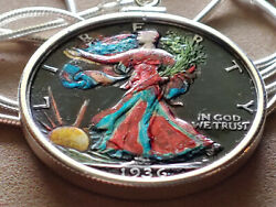 Usa 1936 Colorful Silver Walking Liberty On A 24 925 Italian Sterling Chain