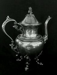 Antique Victor Obler New York Silverplate Silver Coffee Pot 11 Inches