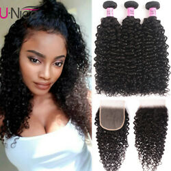 Unice Hair Cambodian Curly 3 Bundles With Lace Closure Human Hair Extensions Us