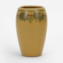 Marblehead Pottery Decorated Leaf And Berry Vase Arts And Crafts Matte Green Yellow