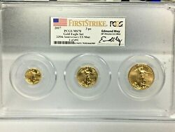 2017 3-pc Fractional Gold Eagle Set Pcgs Ms70 Fs Ed Moy Signature 1 Of 491