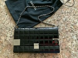 100 Authentic Vintage Quilted Leather Clutch With Card Holder, W/chain