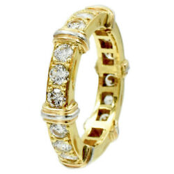 Elegant 1.35ct Diamond Eternity Band In 18k Yellow Gold G-vs Size 4.5 4.7g