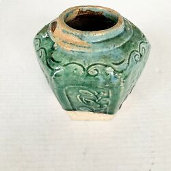 """Antique Green Lg Chinese Shiwan Pottery 5.5"""" Ginger Jar Pot Late Qing 1890-1910"""