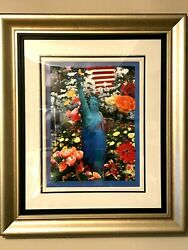 Peter Max Land Of The Free Home Of The Brave M/m W/ Acrylic Signed 911 Suite