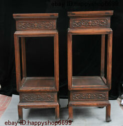 Old Chinese Dynasty Palace Hua Li Wood Carved Vase Stand Flower Rack Statue Pair