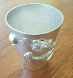 Silver Dragon Cup Chinese Beaker 56 Grams Liquor Whiskey Shot Glass Antique F