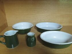 Vintage Lot Hall Pottery Green And White Bowls Syrup Pourer Toothpick Holder