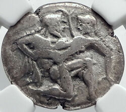 Thasos Island Off Thrace 500bc Archaic Silver Greek Coin Satyr Nymph Ngc I81762