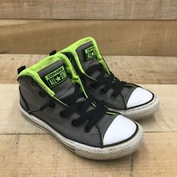 Converse All Star Kids Sneakers Gray White 642030F Lace Up Mid Top Shoes 1 $26.99