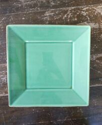 Pottery Barn Asian Square Dinner Plate Green Brown Edging Made Japan 4 Pc