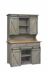 A Amish Hand Built Large Hutch 75x48x21 And Aa Large Step Stool
