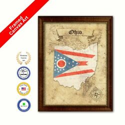 Ohio State Vintage Map Brown Framed Canvas Print Home Decor Wall Art