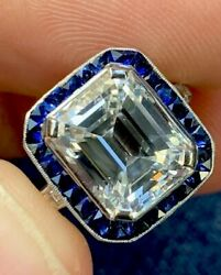 GIA Certified  Antique 5.11 Emerald Cut Diamond E VVS2 Sapphire Ring Platinum