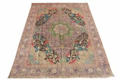 Mind-blowing Purple Green Red Pallete 9 X 13 Area Rug Antiqued Hand-knotted Rug