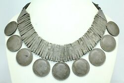 Antique Necklace Old Silver Indian Coin Edward Vii Jewelry Knotted Black Thread