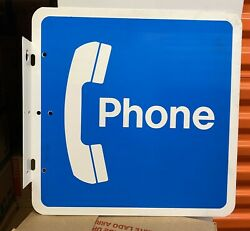 Vintage Metal Pay Telephone 2 Sided Sign 18 By 18 W Hanging Bracket Blue White