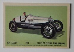 Ray Keech 1929 Simplex Piston Ring Hawes Wax Indianapolis 500 Trading Card 1960