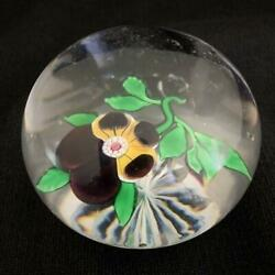 1850s Antique Baccarat Transparent Pansy Paperweight Pansies Size 53mm Very Rare