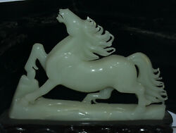 17 China Natural Stone Jade Carving Fengshui 12 Zodiac Year Animal Horse Statue
