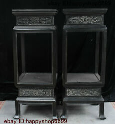 Ancient China Rosewood Wood Carved Exquisite Vase Stand Flower Rack Statue Pair