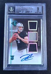 Derek Carr 2014 Limited Star Factor Triple Patch Silver Auto Rc /10 Bgs 9 /9