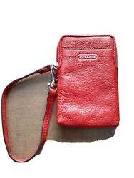 Coach Wristlet Leather wallet Vermillion New With Defect $20.00