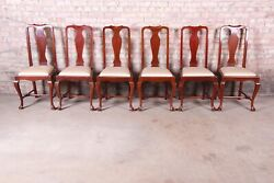 19th Century Queen Anne Mahogany Dining Chairs, Set Of Six