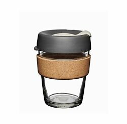 Keep Cup Brew Cork Tempered Glass Press Compact Coffee Tea Natural Cork Band