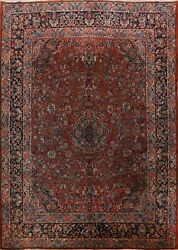 Antique Vegetable Dye Traditional Floral Kork Wool Hand-knotted Area Rug 9x12 Ft