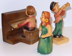 Vintage Chalkware Musical Group Set 3 Lady Singer Piano And Trumpet Player
