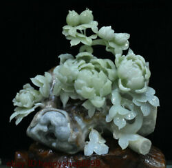 Chinese Natural Xiu Yu Jade Carving Subshrubby Peony Flower Tree Ornament Statue