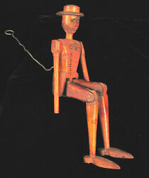 Antique Folk Art Sullivan County New York Wood Articulated Puppet Man Rare Toy